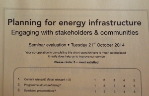 Planning for energy infrastructure - engaging stakeholders and communities - evaluation sheet